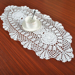 White-Vintage-Hand-Crochet-Lace-Doilies-Oval-Cotton-Table-Runner-Mats-11x27inch
