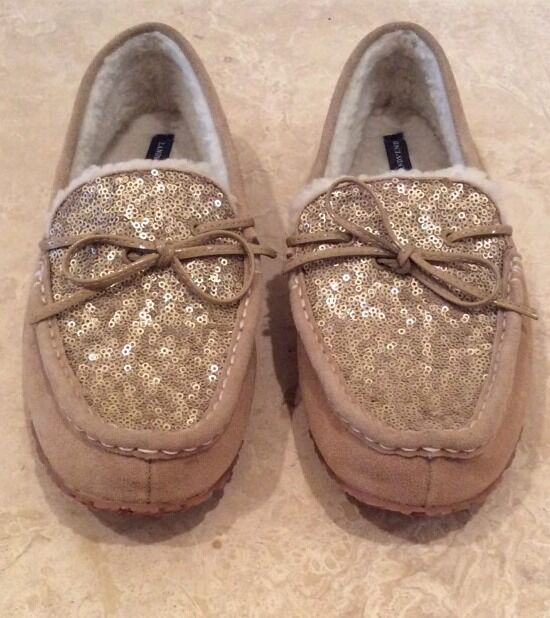 LANDS' END Suede Wool Sequins Slippers Slip Ons Bow Knot Size Womens 11 B