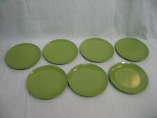 "Vintage Melamine Cake Serving Plates Dish 5.75"" Set of Seven (7) Green"