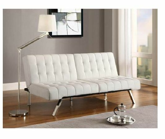 Convertible Sofa Sleeper Futon Couch Vanilla Faux Leather Living Room  Furniture