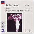 Rachmaninoff: Vespers; Liturgy of St. John Chrysostom (CD, Sep-2003, 2 Discs, Polygram International)