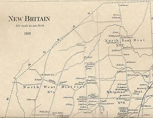 New Britain CT 1869 Maps with Businesses and Homeowners Names Shown