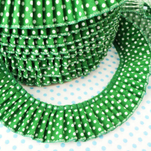 Cotton Fabric 30mm Green Polka Dot Pleated Trim Edging