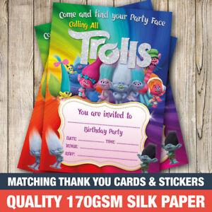 20 x trolls birthday party invitations 20 x a6 girl trolls invites