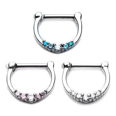 Nose Ring Septum Clicker Cz Jeweled 14 Or 16 Gauge Ebay