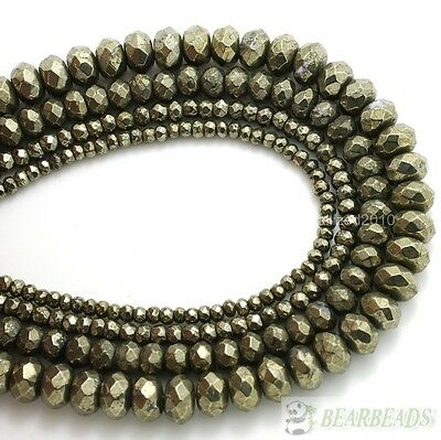Natural Iron Pyrite Gemstone Faceted Rondelle Beads 3mm 4mm 6mm 8mm 10mm 16''