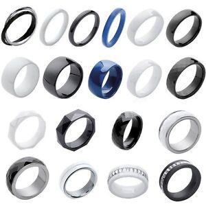 Bague anneau Femme en Céramique Hématite pierre argent ou plaqué OR au CHOIX