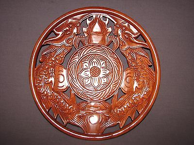 Chinese Carved Wood Double Dragon Flames Lotus Flower Wooden Decorative Plate