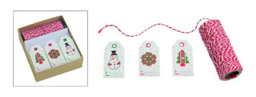 30 Geschenkanhänger beschriftbar Weihnachtsmotive mit Band Garn Weihnachten