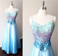 Ombre Aqua Sequin Halter Plunging V Back Tulle Blue Gown Prom Party Dress Sz Xs