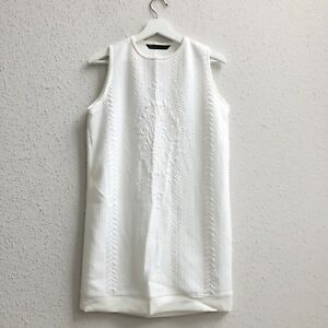 f6c5b86a26c6ce Details about NWT ZARA Sz Medium Sleeveless High Neck Textured Mini Shift  DRESS off white NEW
