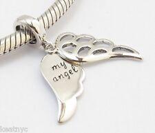 MY ANGEL WINGS DANGLE CHARM Bead Sterling Silver.925 For European Bracelet 765