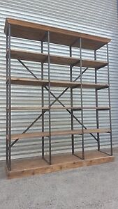 Clearance-NEW-INDUSTRIAL-VINTAGE-RUSTIC-BOOKCASE-SHELF-DISPLAY-V-15