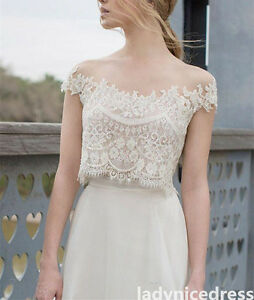 Lace Chiffon Two Pieces Bridal Gown A Line Beach Off Shoulder