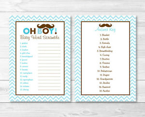 photo regarding Baby Shower Word Scramble Printable identified as Data concerning Mustache Minimal Guy Printable Youngster Shower \