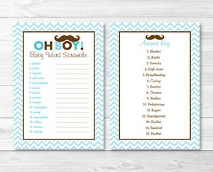 graphic regarding Printable Baby Word Scramble identify Information with regards to Mustache Very little Guy Printable Child Shower \