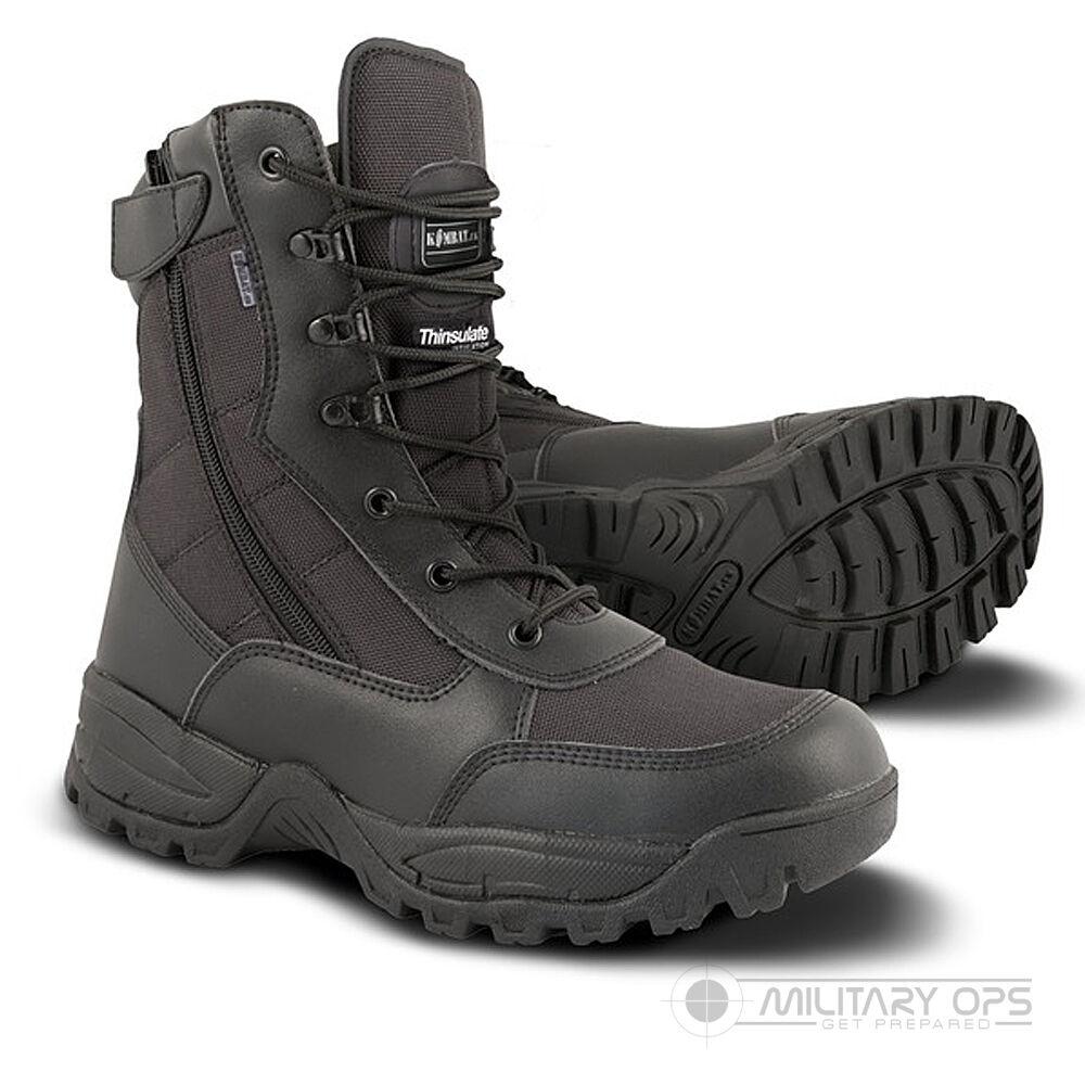 Cuero Negro Ejército Cordura Spec Ops Recon Botas Cremallera Side Ligero Ejército Negro Militar 2389b1