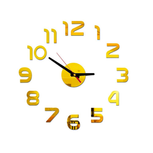UK DIY Wall Clock 3D Mirror Surface Sticker Home Office Decor Clock