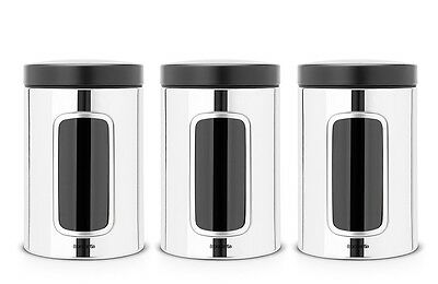 Brabantia Vorratsdose 1,4 l Edelstahl poliert Fensterdose Kaffeedose Keksdose