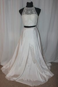 NWT Sherri Hill 50803 White Size 10 beaded long formal evening gown, Pageant