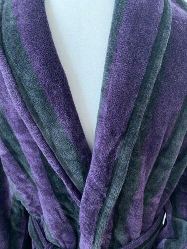PURPLE VELOUR DRESSING GOWN LUXURY BATHROBE HENRY JOHN PLATINUM MENS BLACK