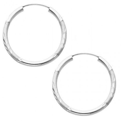 30MM 14K Solid White Gold 2mm Diamond Cut Endless Hoop Earrings