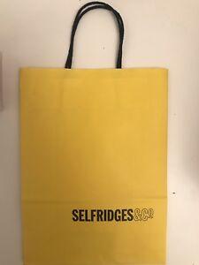 3ab783e531 SELFRIDGES YELLOW CARRIER BAG GIFT BAG GENUINE medium paper BAG Used ...