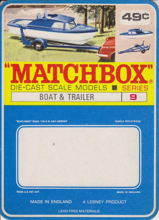 Matchbox 09d Boat &  Trailer RARE Canadian High School Blister voitured Unused  achats de mode en ligne