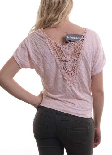 Madonna Mode Fledermaus Shirt Top für Damen mit Spitze am Rücken in Rosa