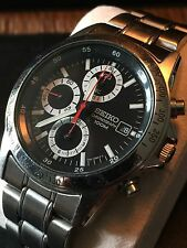Mens Seiko Chronograph 100m Watch 7T92 0DW0 Stainless Steel Black Face/Dial NICE