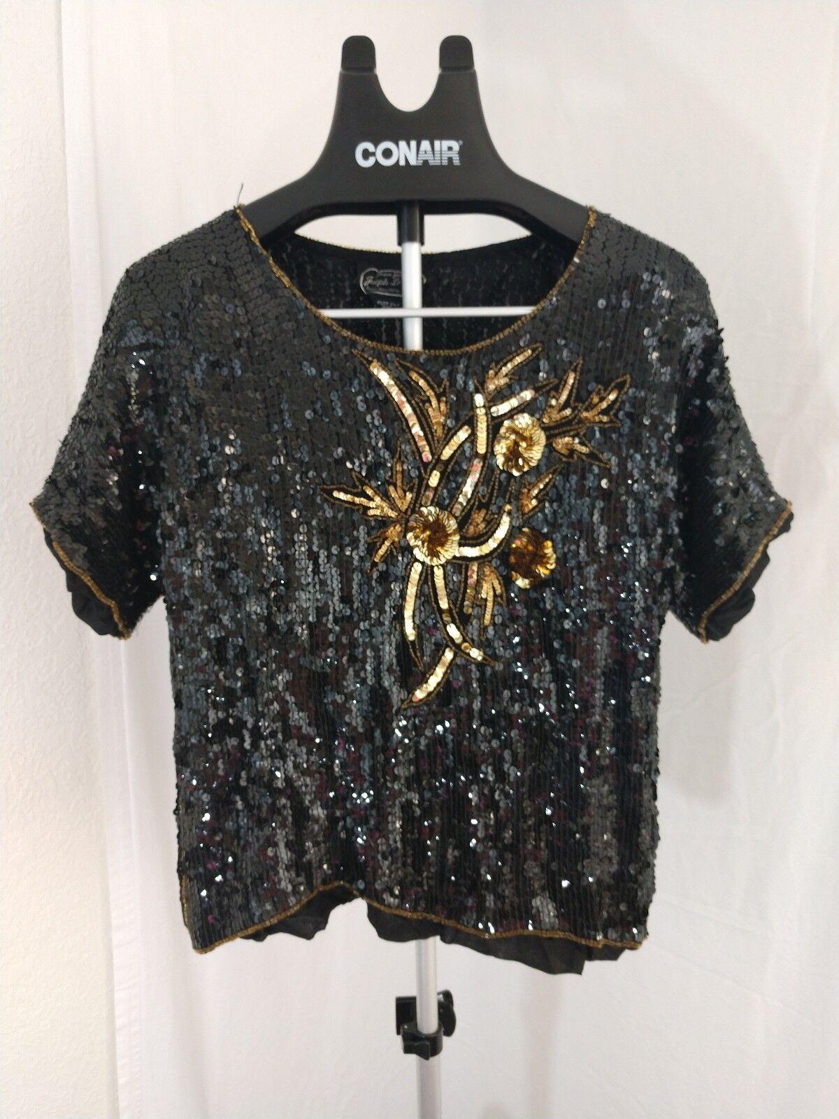 Vintage Joseph Le Bon Beaded Sequin Top Größe XL schwarz and Gold