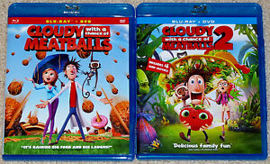 Kid Blu-ray DVD Lot - Cloudy With a Chance of Meatballs 1 & 2 (Used)