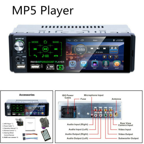 """4.1/"""" Touch Screen Bluetooth AM FM Radio MP5 Player Support Subwoofer+Rear Camera"""