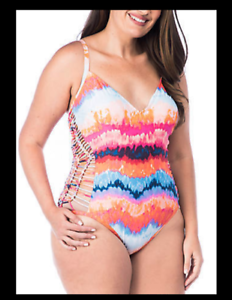 NEW Kenneth Cole Reaction Tidal Wave Macrame Side One-Piece [SZ Small]  C680