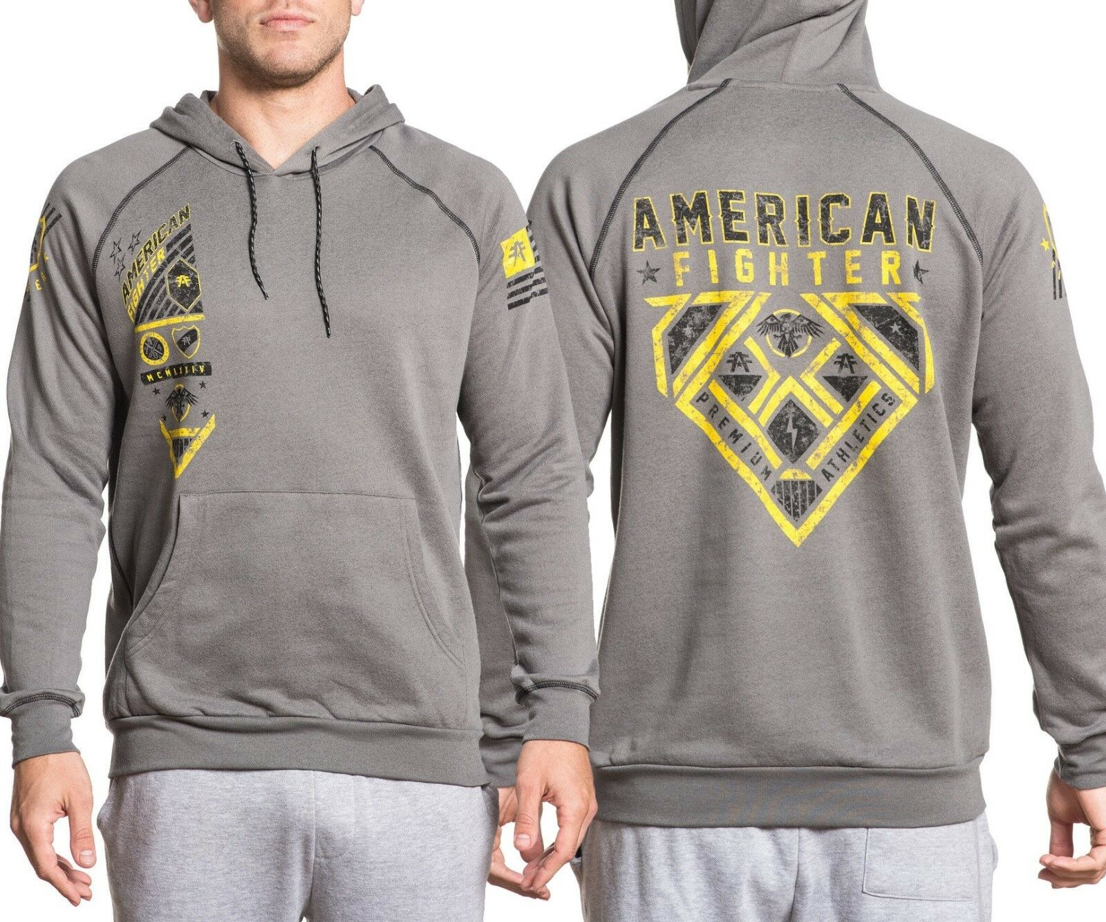 Authentic Affliction American Fighter Kelton Raglan Hoodie, UFC , MMA