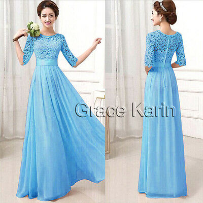 Formal Long LACE Women Prom Evening Party Bridesmaid Wedding Dress Pink Blue XXL