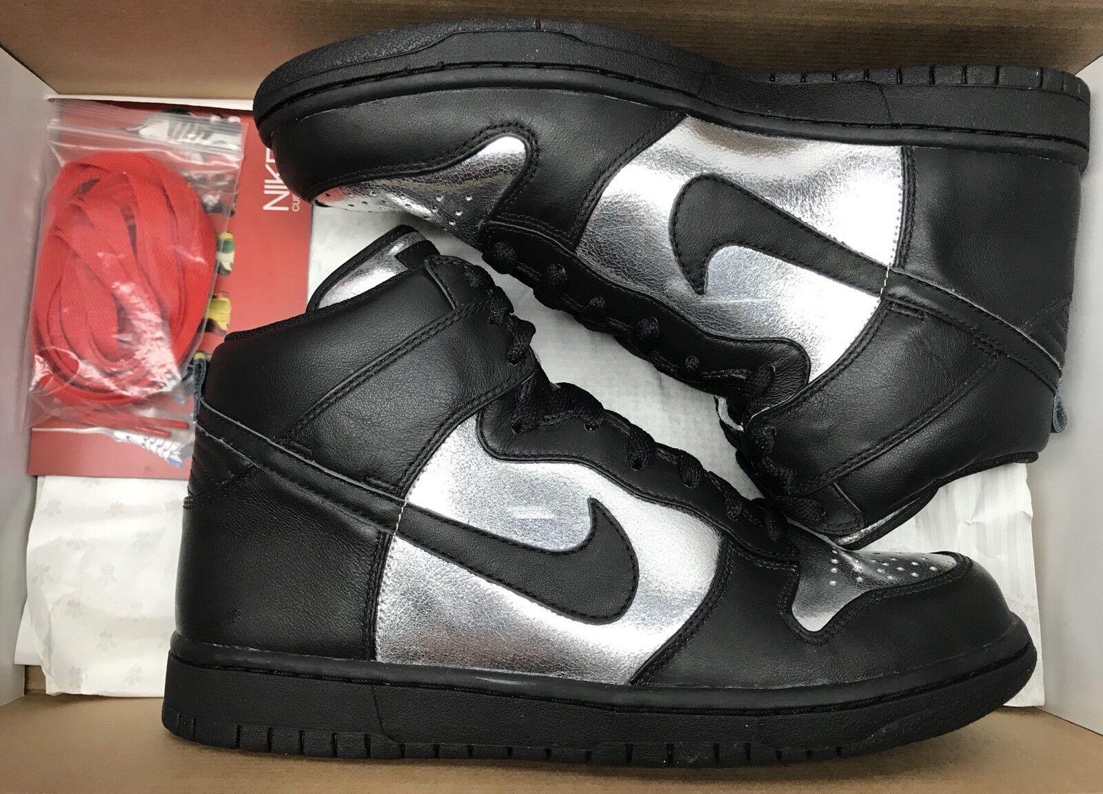 2008 Nike Dunk High ID Black Metallic Silver Chrome SB 332299-992 Sz 9.5
