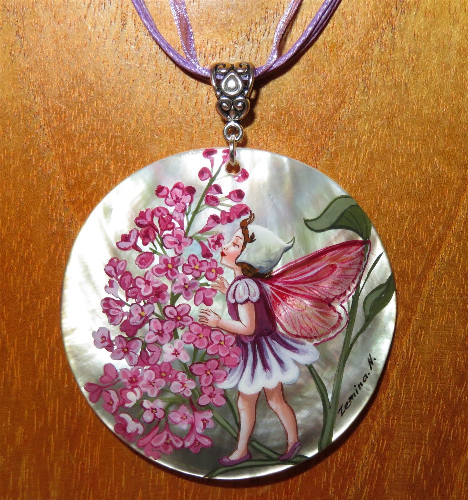 Pendant The purpleC FLOWER FAIRY Genuine Russian hand painted SHELL Beautiful GIRL