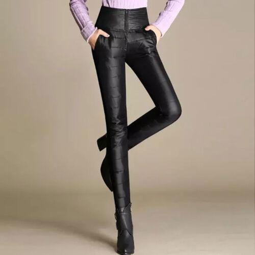 Womens Winter Warm Pants Windproof Down Stitching Slim Fit Trousers High Waist X
