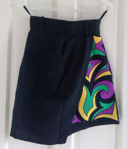 Liliane-Romi-black-linen-skort-with-abstract-print-Size-Fr-36