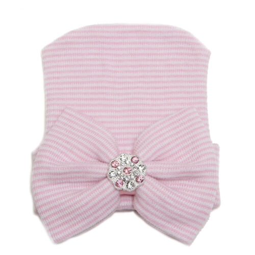 Baby Infant Striped Cap Hospital Newborn Soft Beanie Bow Rhinestone Warm Hat