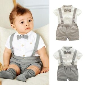 7d913c832 Baby Boy Wedding Formal Suit Bowtie Gentleman Romper Tuxedo Newborn ...
