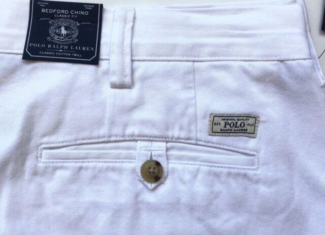 Men's Polo Ralph Lauren White/ Chino Cotton Pants Classic Fit/Bedford- 36x32 NWT