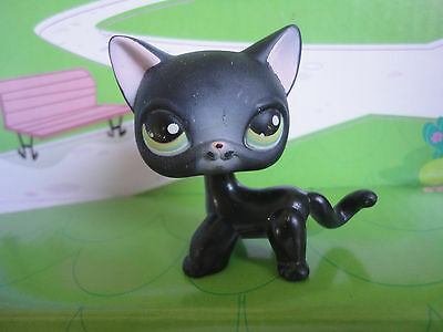 Littlest Pet Shop LPS BLACK SHORTHAIR CAT 336 Green Eyes RARE Siamese Kitty