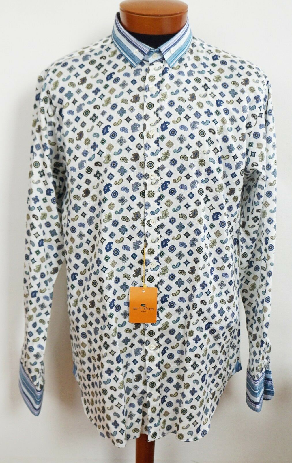 NWT Authentic ETRO Milano PAISLEY Printed SLIM FIT Long-Sleeve Shirt 44