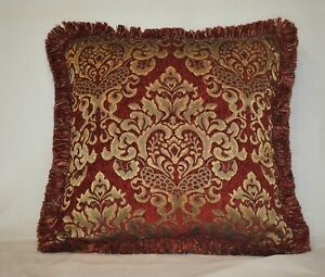 Details about embroidered red and gold chenille fringe throw pillows for  sofa chair or couch