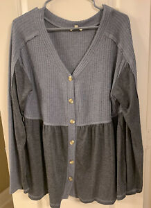 Kori America Women's Boutique Top Medium Charcoal Gray Waffle Material Henley