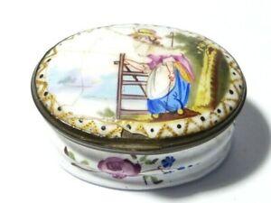 18-19thC Georgian Bilston Hand Painted Enamel Patch Box Lady + Gate A/F