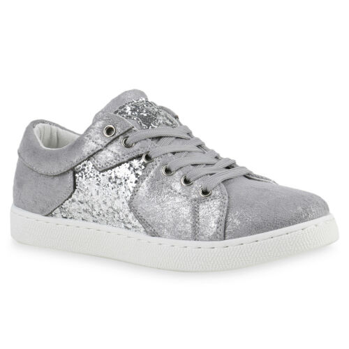 Damen Glamour Sneakers Sportschuhe Glitzer Metallic 817181 Schuhe
