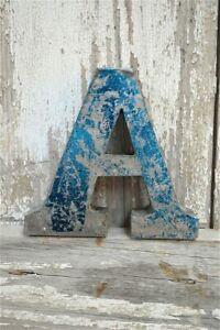 Fantastico stile vintage in metallo blu 3D una lettera font Shop Segno Piastra a parete